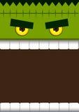 Frankenstein vänder mot gigantisk allhelgonaaftonbakgrund Royaltyfri Bild