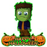 Frankenstein wishes happy halloween on white background. File in layers and editable stock illustration