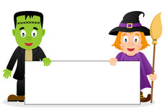 Frankenstein & Witch with Blank Banner Stock Images