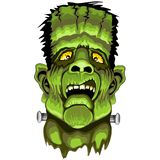Frankenstein Zombie Horror Face. Horrible Frankensteing Monster Portrait, illuminated from the Bottom, with terrifying grimace on his green creepy face. Original Royalty Free Stock Photo