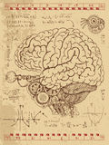 Frankentsein dagbok med den mekaniska mänskliga hjärnan, ögat och matematikformler Fotografering för Bildbyråer