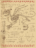 Frankentsein Diary with fantasy monster skeleton, math formulas and mystic symbols Stock Images
