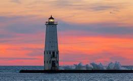 Frankfort latarni morskiej zmierzch obraz royalty free