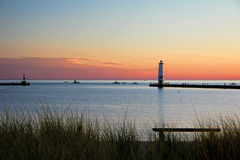 Frankfort Michigan Lighthouse at Sunset royalty free stock image