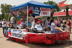Frankfort Township republican independence day float. In july 4th parade Royalty Free Stock Photo
