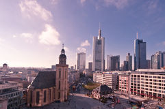 Frankfurt. Image taken from the top of a shopping mall showing the Frankfurter Hauptwache and its surroudings royalty free stock photo