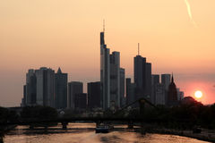 Frankfurt. Sunset behind the skyline of Frankfurt, Germany royalty free stock image