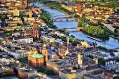 Frankfurt Aerial Tilt Shift . Taken in 2015 royalty free stock image