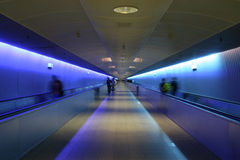 Frankfurt airport. Colorful escalator/tunnel at Frankfurt airport, Germany stock photo