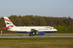 Frankfurt Airport - Airbus A319 of British Airways takes off Royalty Free Stock Images