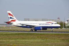 Frankfurt Airport - Airbus A319 of British Airways takes off Royalty Free Stock Photos