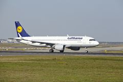Frankfurt Airport - Airbus A320-200 of Lufthansa takes off. An Airbus A320-200 of Lufthansa takes off at Frankfurt International Airport (Germany, FRA) on April Royalty Free Stock Images