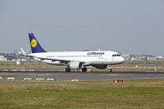 Frankfurt Airport - Airbus A320-200 of Lufthansa takes off. An Airbus A320-200 of Lufthansa takes off at Frankfurt International Airport (Germany, FRA) on April Stock Photo
