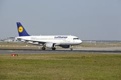 Frankfurt Airport - Airbus A319-100 of Lufthansa takes off Royalty Free Stock Images