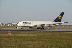 Frankfurt Airport - Airbus A380-800 of Lufthansa takes off Stock Photography