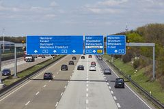 Frankfurt Airport - Autobahn A5 with roadsign to the airport Royalty Free Stock Photography