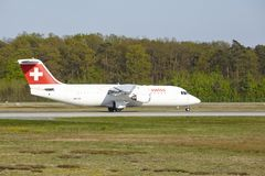 Frankfurt Airport - Avro RJ100 of Swiss International Air Lines takes off Royalty Free Stock Photo