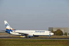 Frankfurt Airport - Boeing 737-800 of SunExpress takes off Royalty Free Stock Photography