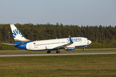Frankfurt Airport - Boeing 737-800 of SunExpress takes off Royalty Free Stock Photo