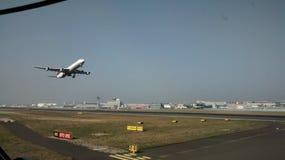 Frankfurt airport. A380 departing from Frankfurt Stock Image