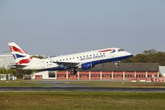 Frankfurt Airport - Embraer 170 of British Airways takes off Royalty Free Stock Image