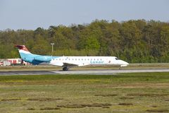 Frankfurt Airport - Embraer ERJ-145LU of Luxair takes off Stock Photos