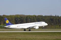 Frankfurt Airport - Jet aircraft of Lufthansa Regional takes off Royalty Free Stock Image