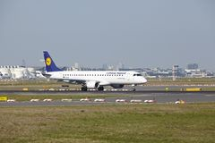 Frankfurt Airport - Jet aircraft of Lufthansa Regional takes off Royalty Free Stock Photo