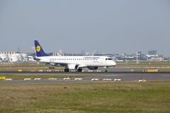 Frankfurt Airport - Jet aircraft of Lufthansa Regional takes off Royalty Free Stock Photo