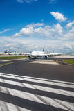 Frankfurt airport - Lufthansa airplanes on runway Royalty Free Stock Photo