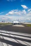 Frankfurt airport - Lufthansa airplanes on runway Royalty Free Stock Photo