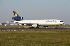 Frankfurt Airport - MD-11 of Lufthansa Cargo takes off Royalty Free Stock Image