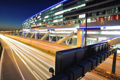Frankfurt airport railway terminal at night Stock Photo