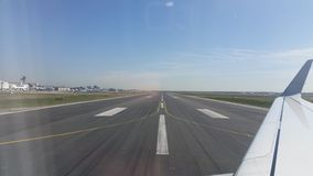 Frankfurt airport runway view from plane on the ground. Frankfurt airport runway stock photography