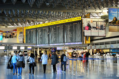 Frankfurt airport terminal 1. Time tablet Royalty Free Stock Photography