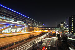 Frankfurt Airport. Train terminal in night Royalty Free Stock Photo