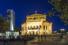Frankfurt Alte Oper nocą Zdjęcie Stock