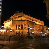Frankfurt Alte Oper przy nocą Obrazy Royalty Free