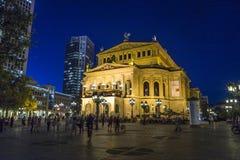 Frankfurt Alte 's nachts Oper Stock Fotografie