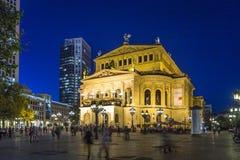 Frankfurt Alte 's nachts Oper Royalty-vrije Stock Afbeelding
