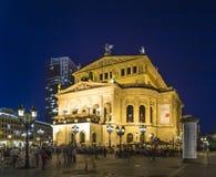 Frankfurt Alte 's nachts Oper Stock Afbeeldingen