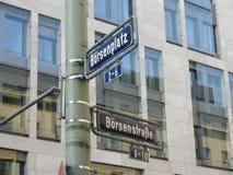 Frankfurt Börse Stock Market Street Sign royalty free stock photo