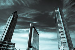 Frankfurt Business Towers  Black and White Landscape Royalty Free Stock Image
