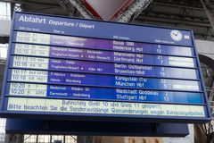 Frankfurt Central Rail Station Schedule Board Royalty Free Stock Image