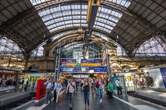 Frankfurt central train station. FRANKFURT, GERMANY - JUL 11, 2013: Inside the Frankfurt central train station. With about 350.000 passengers per day it`s the Royalty Free Stock Photos