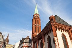 Frankfurt church in the place Royalty Free Stock Images