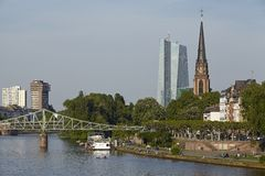 Frankfurt - Church of the Three Kings and Iron Bridge Stock Image