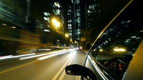 Frankfurt City Car Driving at Night. Time Lapse stock video footage