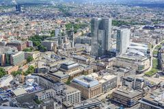 The Frankfurt City. FRANKFURT ON THE MAIN, GERMANY - CIRCA JUNE, 2016: View over the City of Frankfurt on the Main from Main Tower, Germany stock photos