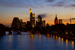 Frankfurt city at night Royalty Free Stock Photos